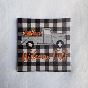 New! Welcome Fall Pumpkin Truck Checkered Canvas